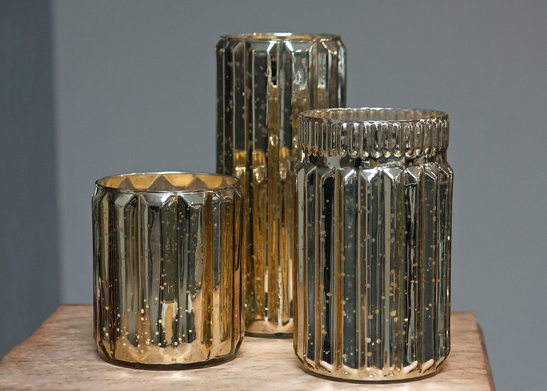 Gold Mercury Vase + Candle Holder Collection