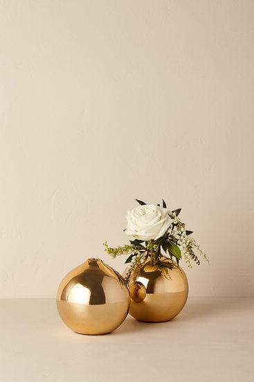 Small Round Gold Bud Vase