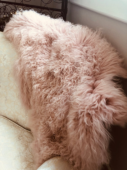 Pink fur throw