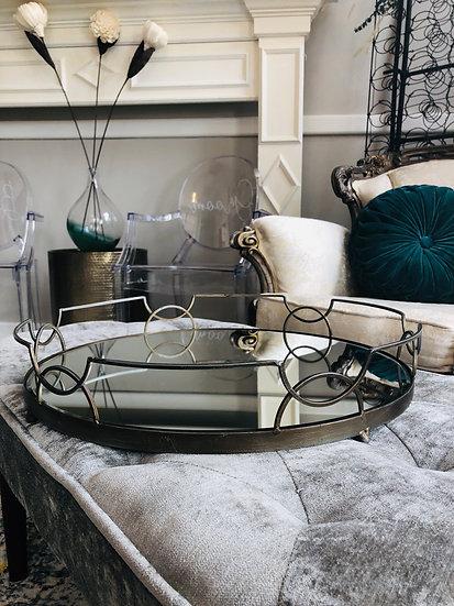 Large Dark Metal Mirror Tray