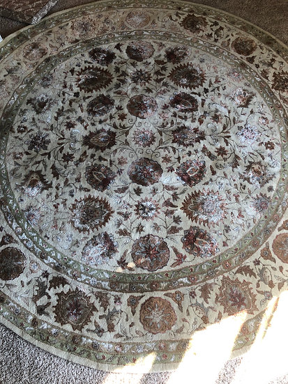 Large Round 8' Distresses Oriental Rug
