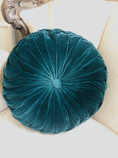 Dark teal tufted pillow