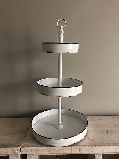 White Rustic Metal Tri-tiered stand