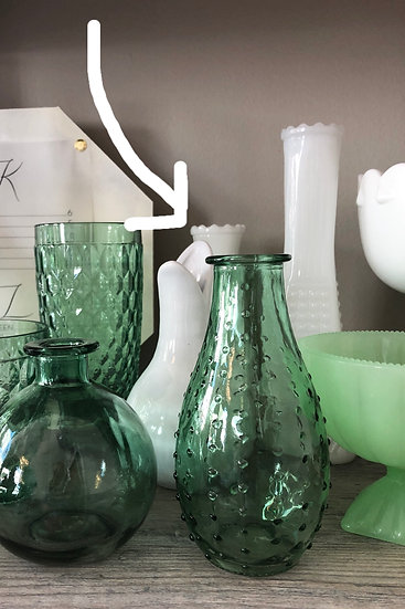 Dotted Green Glass bud vase