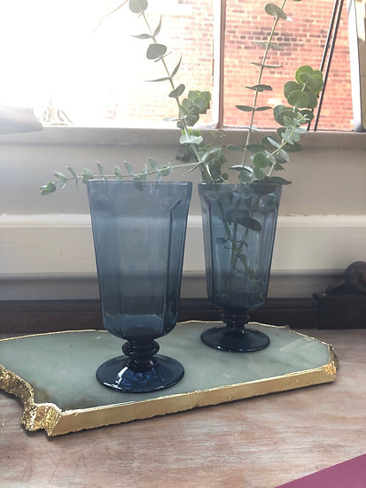 Dark Blue Glass Goblets