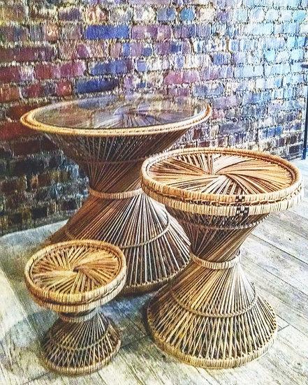 Wicker trio of side tables