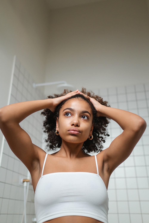 woman hair loss stress