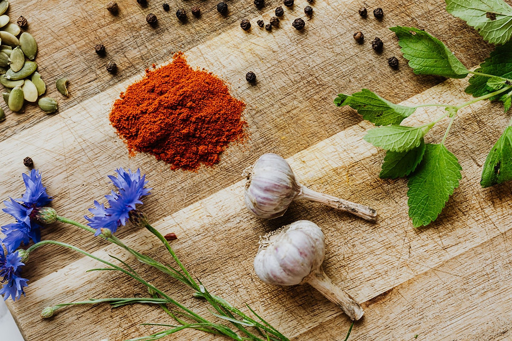 garlic spices herbs flowers, great skin eat garlic