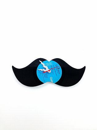 Horloge vinyle recyclé -Vinyl clock- Moustache #2