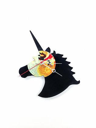 Horloge vinyle recyclé -Vinyl clock- Licorne -