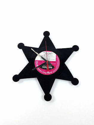 Horloge vinyle -Vinyl clock- Étoile de sheriff -