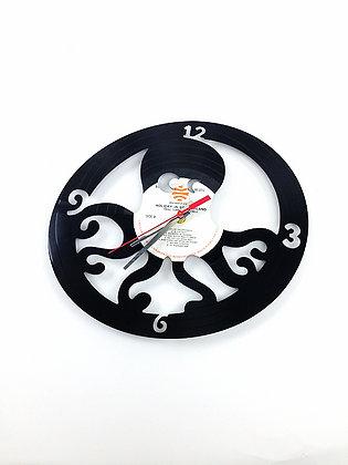 Horloge vinyle recyclé -Vinyl clock-Pieuvre #4 -