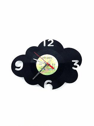 Horloge vinyle -Vinyl clock- Nuage avec chiffres -