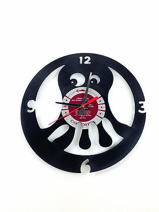 Horloge vinyle recyclé -Vinyl clock- Pieuvre #1 -
