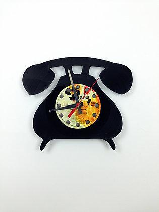 Horloge vinyle recyclé -Vinyl clock- Téléphone -