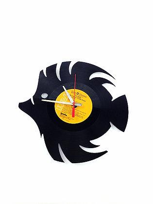 Horloge vinyle recyclé -Vinyl clock- Poisson -