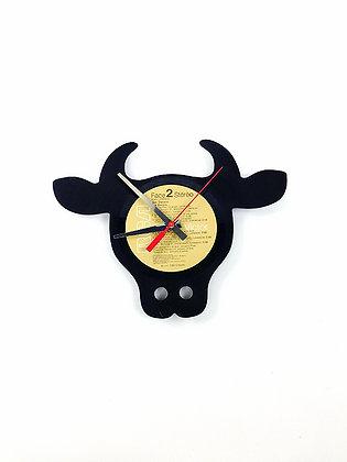 Horloge vinyle recyclé -Vinyl clock- Taureau -