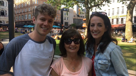 Filming with Matt Cox and Sara Bispham in Leicester Square