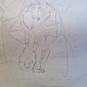 Bat-like horned monster by Luke Gettings