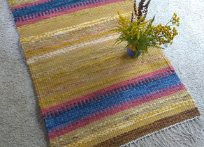 Handwoven Rug woven July 2020 by Susan Emmons