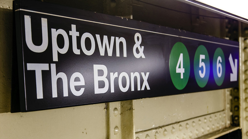 Subway sign of Uptown & The Bronx lines 4,5,6