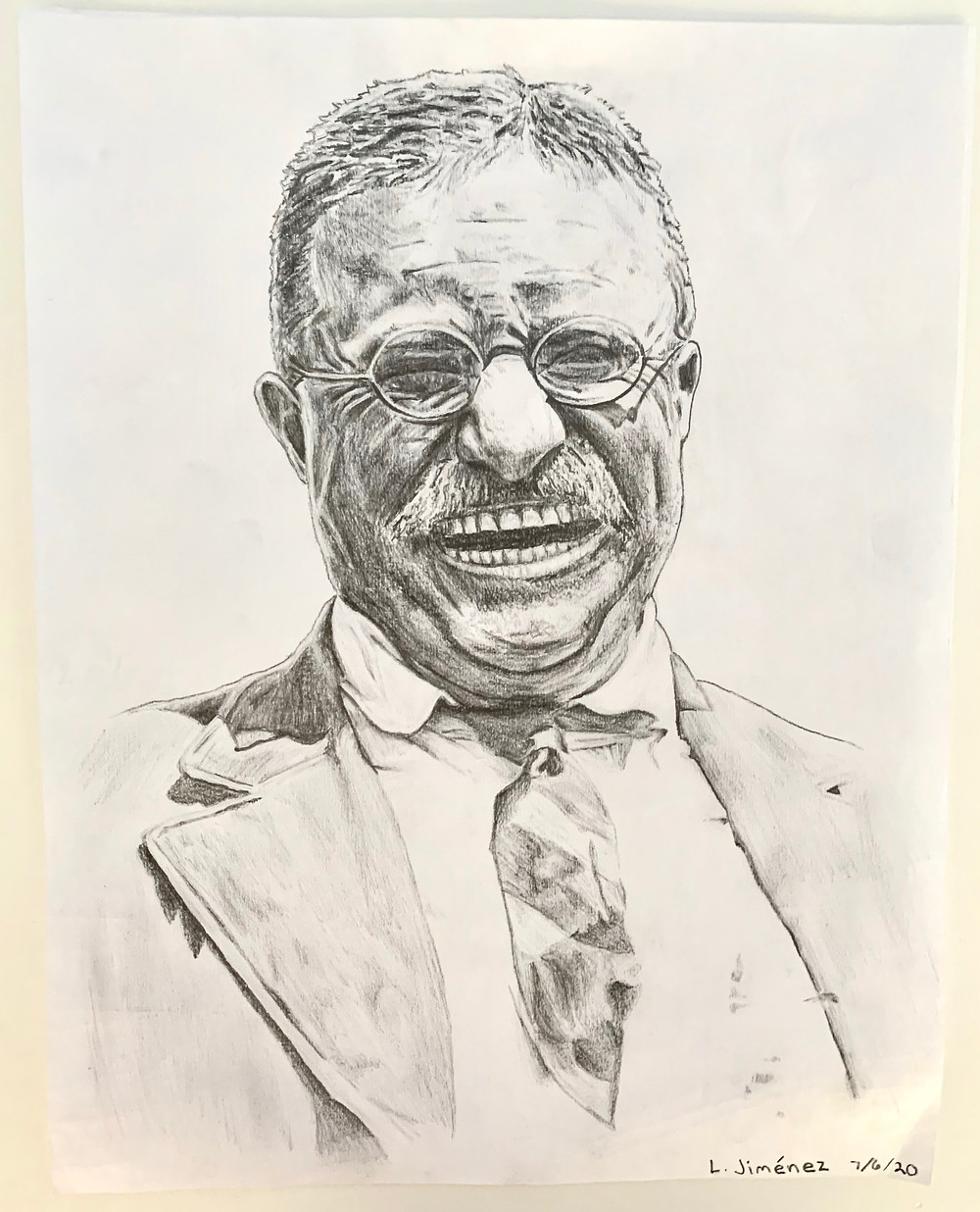 A pencil sketch of Theodore Roosevelt laughing.