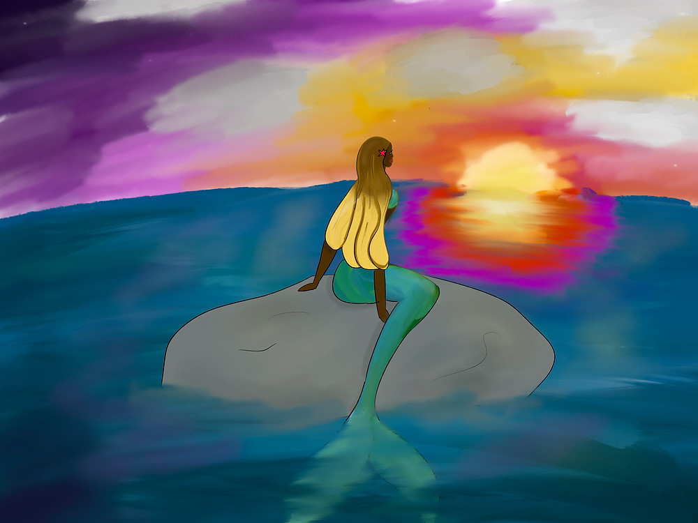 Mermaid with a green and blue tail sitting on a rock watching a vivid sunrise. She has long brown to blond gradient hair, a starfish in her hair and dark skin.