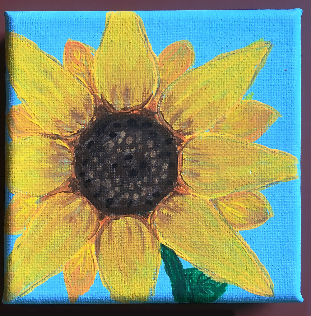 Vibrant square painting of yellow sunflower on cyan backdrop.