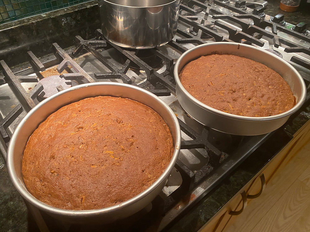Vegan carrot cake just out of the oven
