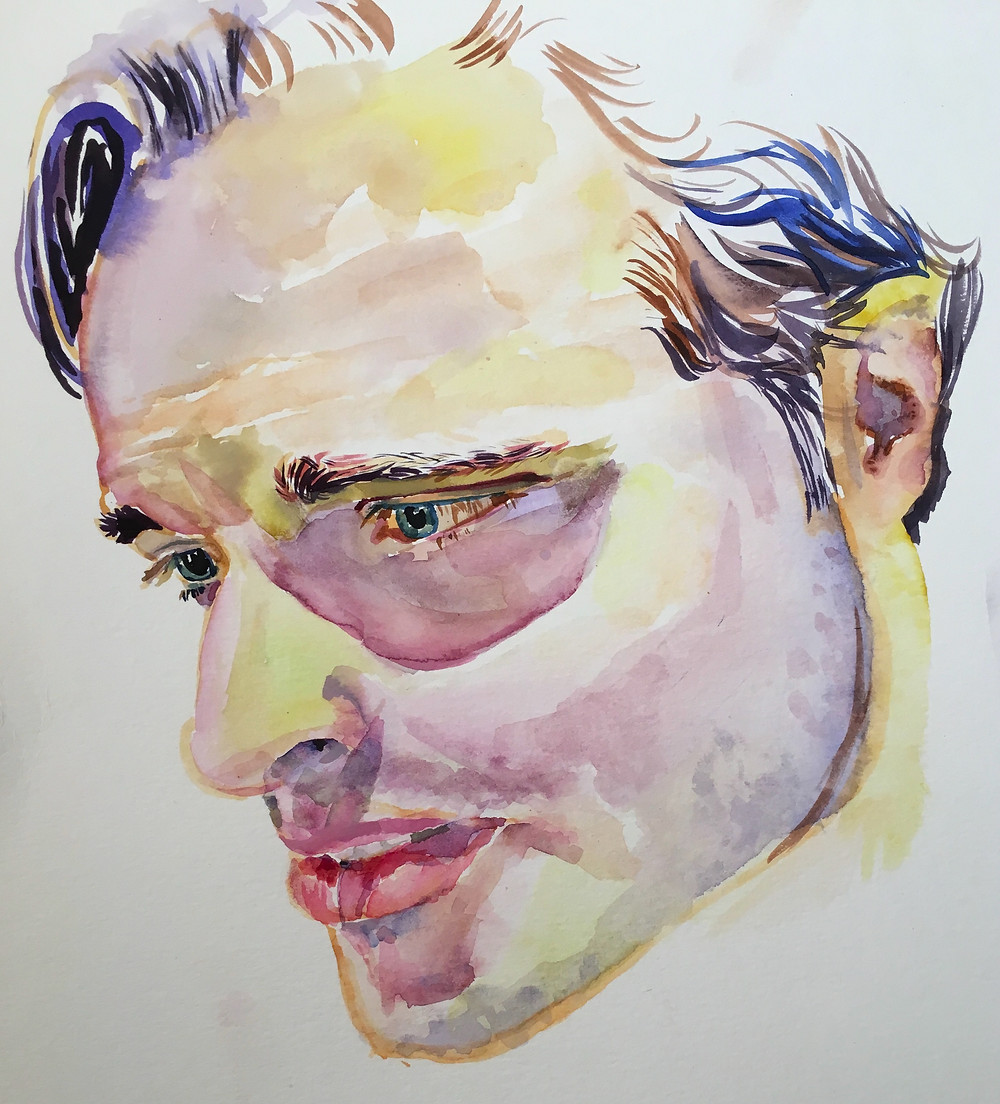 A bright yet earthy-toned watercolor portrait of a man.
