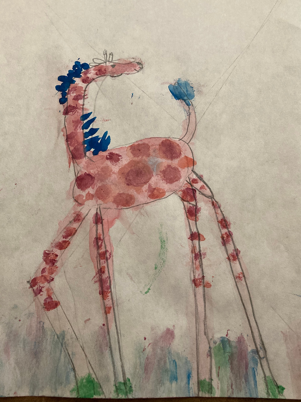 Watercolor and pencil sketch of a red giraffe