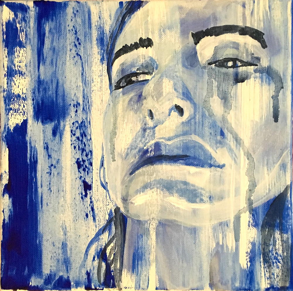 A monochromatic acrylic self-portrait of a female artist with royal blue streaks on the canvas, as rain on a window.