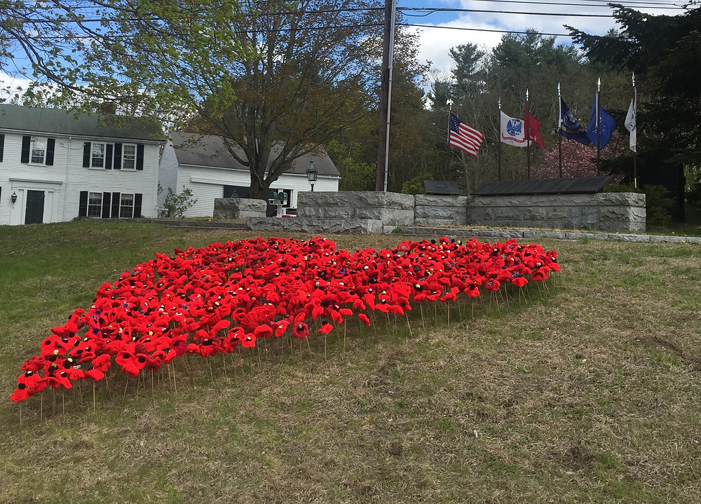 Close up image of homemade poppies forming a heart on town green