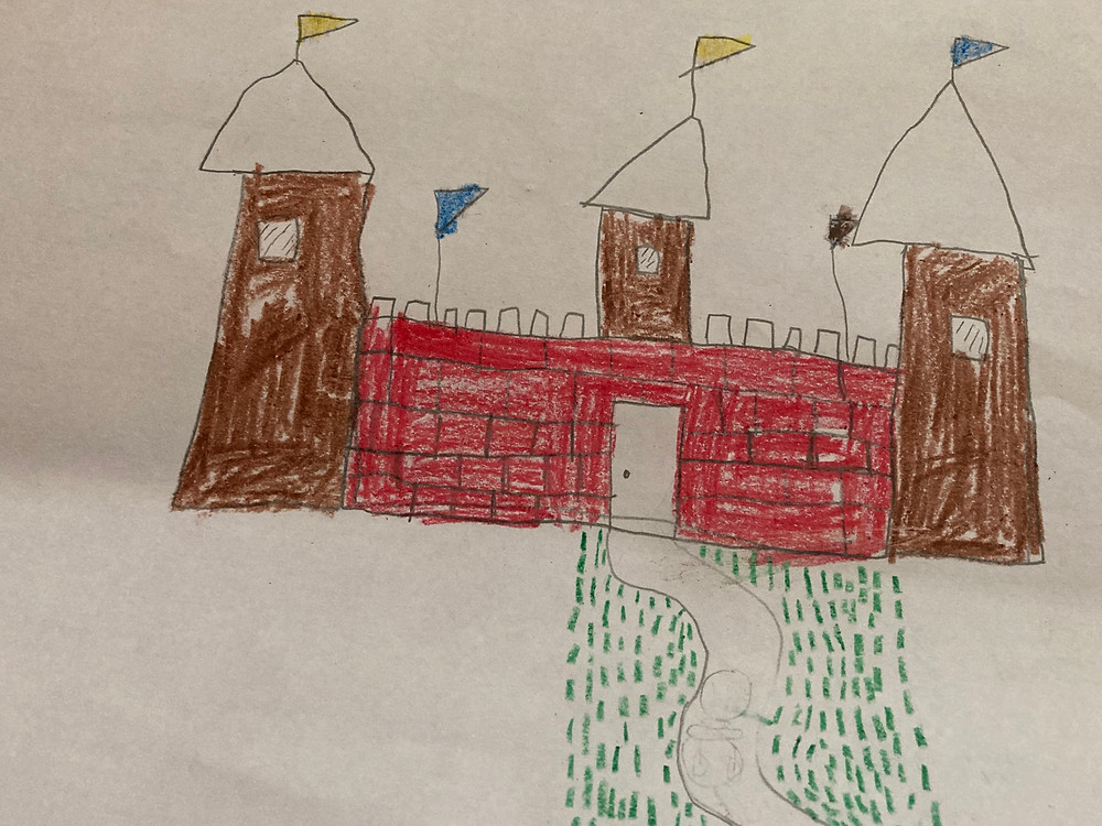 Pencil and crayon drawing of a castle with 3 turrets.