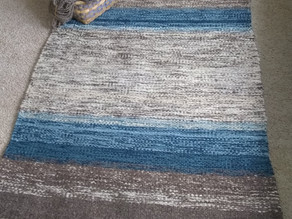 Blue, White and Gray Handwoven Rug by Susan Emmons