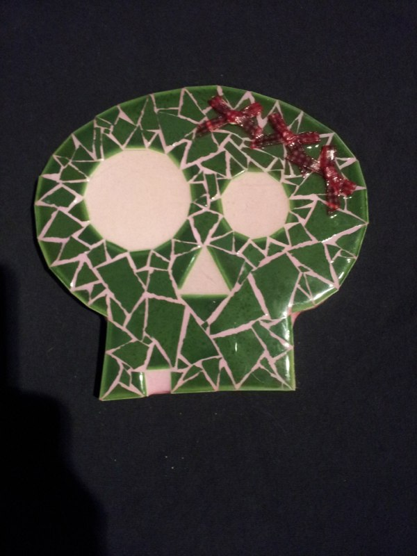 Green Skull with Bows