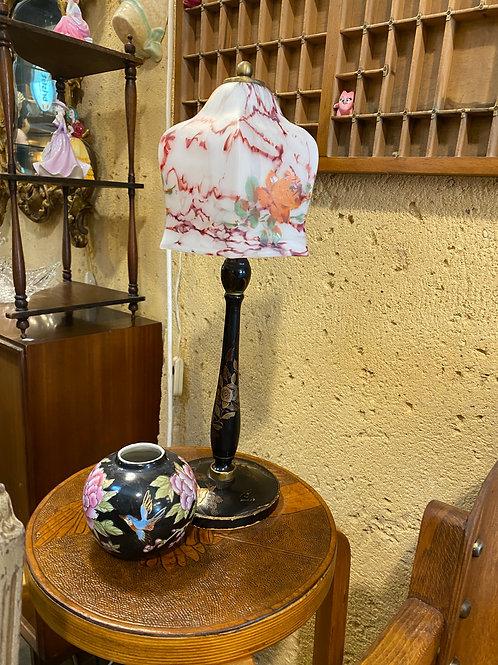 מנורה רגל עץ+ אהיל זכוכית