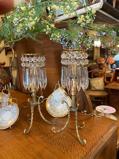 זוג מנורות קריסטל קטנות