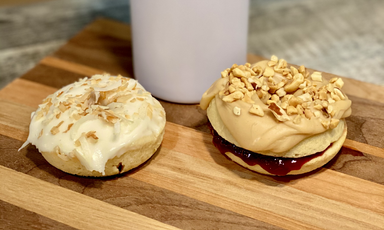 Toasted Coconut and Peanut Butter Iced Raspeberry Jam Donuts