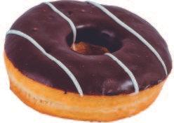 Donut negro con líneas blancas