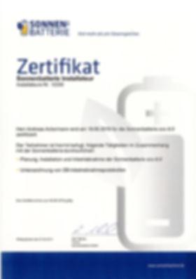 Sonnenbatterie-Zertifikat