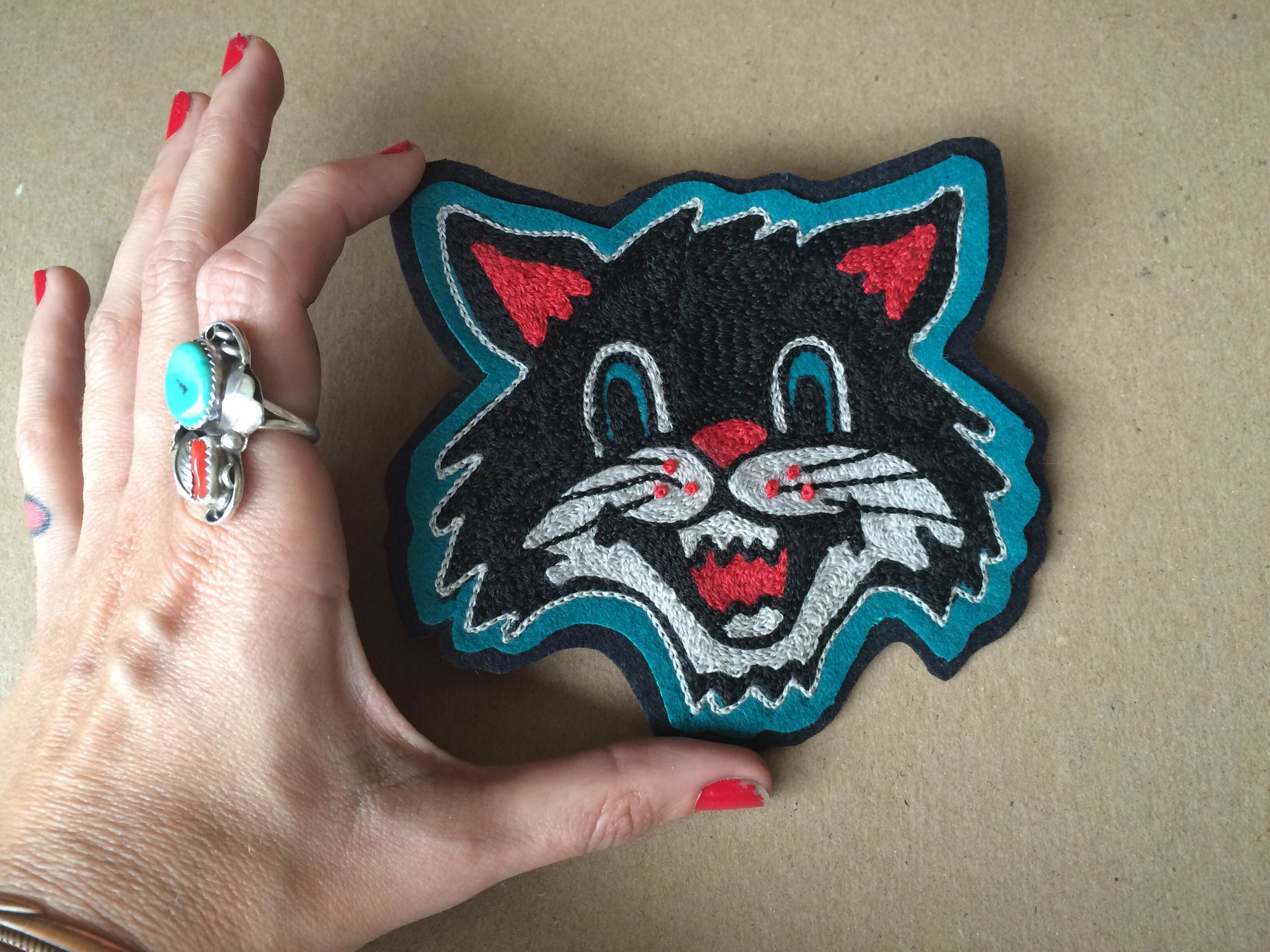 Chainstitch embroidered Cat patch