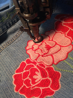 chainstitch embroidered roses