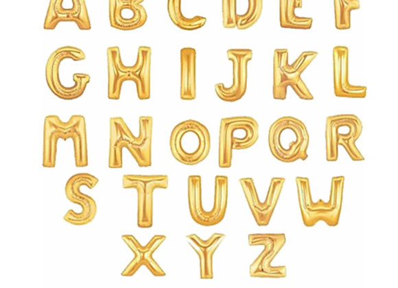 Gold Foil Balloon Alphabet Clipart