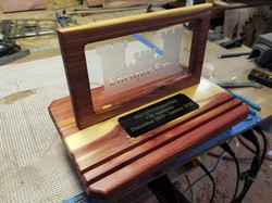 glass etching / cedar