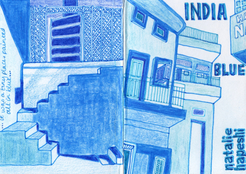 INDIA BLUE ZINE, FRONT AND BACK