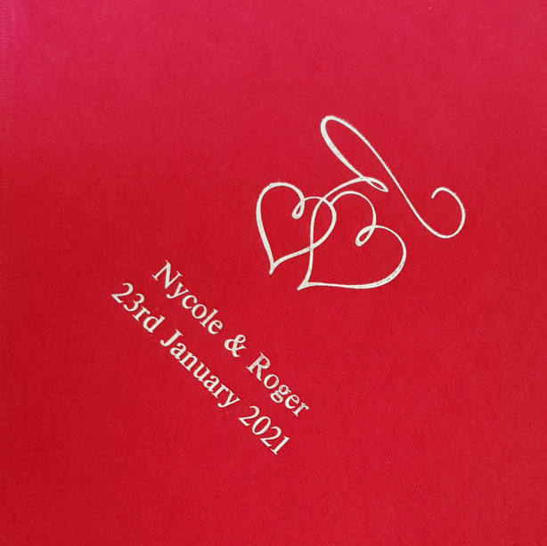 Personalised Napkins were our gift to the happy couple
