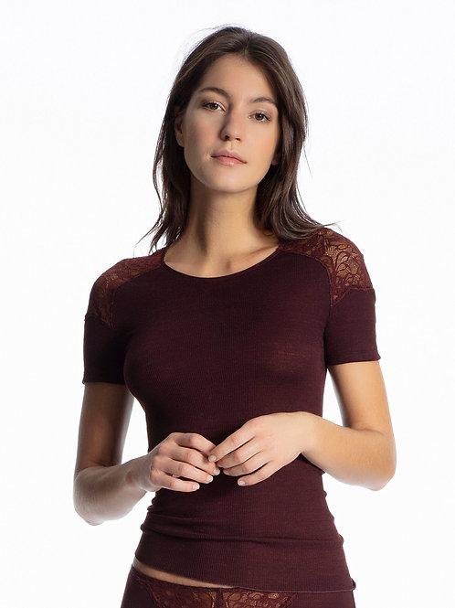 Tee-shirt Laine & Soie manches courtes - Bordeaux - CALIDA