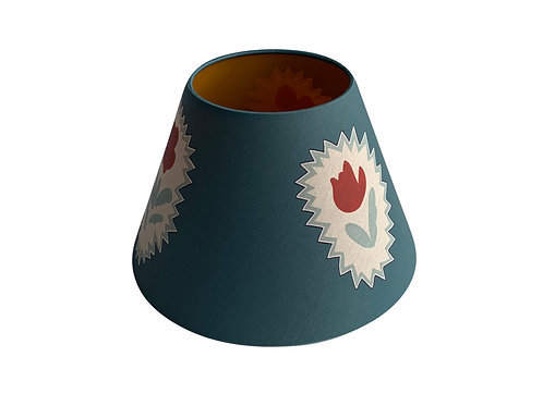 Lampshade - Folk Flowers - Blue