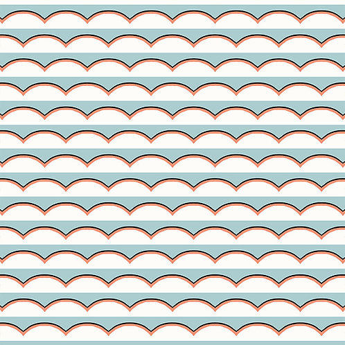 Scallops Light Blue and Orange